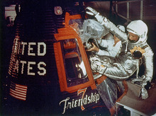 FILE - In this Feb. 20, 1962 file photo provided by NASA, astronaut John Glenn climbs into the Friendship 7 space capsule atop an Atlas rocket at Cape Canaveral, Fla., for the flight which made him the first American to orbit the earth. Glenn plans to mark the 50th anniversary of his historic spaceflight, Monday, Feb. 20, 2012, with a series of events at Ohio State University, including a special dinner and a live chat with crew members aboard the International Space Station. (AP Photo/NASA, File)