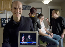 Paul Fraughton  |  The Salt Lake Tribune. Jeffrey Harmon is one of the founders of Utah-based Endorse Liberty, a super PAC campaigning for Republican presidential hopeful Ron Paul. Harmon, a 29-year-old Provo resident, shows off one of the satirical videos his group has produced. In the background is Nate Jones, who plays the fake Mitt Romney, being made up by Chris Richard Hanson, right, and Danielle Donahue.
