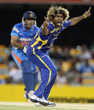 Sri Lanka's Lasith Malinga appeals of the wicket of India's Ravindra Jadeja during their One Day International cricket match in Brisbane, Australia, Tuesday, Feb. 21, 2012. (AP Photo/Tertius Pickard)