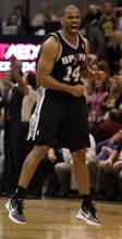Rick Egan  | The Salt Lake Tribune   San Antonio Spurs point guard Gary Neal (14) celebrates as the Spurs sunk a three-point shot, giving them a 4-point lead, with seconds left in the game,  in NBA action in Salt Lake City, Monday, February 20, 2012.
