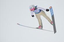 Winner Sarah Hendrickson , USA, soars through the air to win the Women's Ski Jumping World Cup in Hinterzarten, Germany, Sunday Jan. 8, 2012. (AP Photo/dapd/  Felix Kaestle)