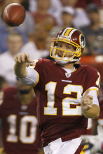 Washington Redskins quarterback John Beck passes during the first half of an NFL preseason football game against the Tampa Bay Buccaneers in Landover, Md., on Thursday, Sept. 1, 2011.  (AP Photo/Ann Heisenfelt)