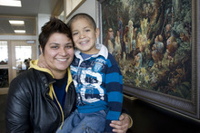 Al Hartmann  |  The Salt Lake Tribune Carina Ortiz, a social work major at Utah Valley University, with her son Joey, 4. UVU offers a family study room at the library to serve students with young children. Early motherhood is one obstacle to Utah women completing college degrees.
