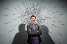 Kim Raff | The Salt Lake Tribune Aaron Moulton is the new curator at the Utah Museum of Contemporary Art in Salt Lake City. He is photographed in front of Joshua Luther's piece,
