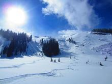 The ski tracks on the left show where people were skiing before the avalanche was triggered under the cliffs to the right. Courtesy: Photo posted to Utah Avalanche Center website