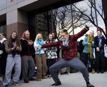 Al Hartmann  |  The Salt Lake Tribune Diego Ballesteros from Salt Lake City shows a few of his dance moves off while waiting to audition for
