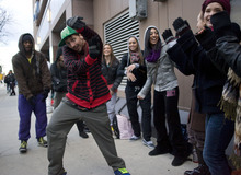 Al Hartmann  |  The Salt Lake Tribune Ryan Riosinski from Cleveland, Ohio, shows a few of his dance moves while waiting to audition for