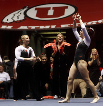 Trent Nelson  |  The Salt Lake Tribune Utah's Stephanie McAllister celebrates after her floor routine as the University of Utah hosted Georgia at the Huntsman Center on Friday, Feb. 3, 2012, in Salt Lake City.
