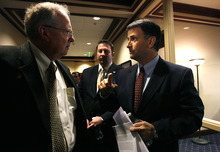 Scott Sommerdorf  |  The Salt Lake Tribune              Former lobbyist Jack Abramoff, right, speaks with Rep. Mike Noel, R-Kanab, after Abramoff spoke to the Utah Rural Caucus, Friday February 24, 2012.