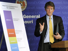 In this Feb. 9, 2012, photo Missouri Attorney General Chris Koster stands in front of a chart in Jefferson City, Mo., showing the proposed distribution of the state's $196,842,222.21 share of a settlement with the nation's top mortgage lenders.  Of that amount, $41 would be paid directly to the state government to spend as it chooses and Gov. Jay Nixon plans to use nearly all of it to help shore up the budget. He's not the only politician eyeing the cash for purposes that have nothing to do with foreclosure. (AP Photo/Kelley McCall)