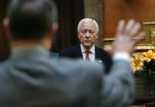 Scott Sommerdorf  |  The Salt Lake Tribune              U.S. Senator Orrin Hatch, R-Utah, listens as Rep. Ken Ivory, R-West Jordan poses a question about federally controlled lands in Utah, in the Utah House.