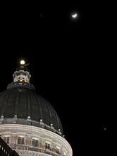 Lennie Mahler  |  The Salt Lake Tribune Jupiter, left, the moon and Venus, bottom-right, shine in the night sky above the capitol building on Sunday, Feb. 26, 2012.