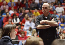 Trent Nelson  |  The Salt Lake Tribune Utah coach Greg Marsden stands near a judge after the score on Stephanie McAllister's floor routine drew boos from the crowd. Utah vs. Stanford, college gymnastics, Friday, February 24, 2012 in Salt Lake City, Utah.