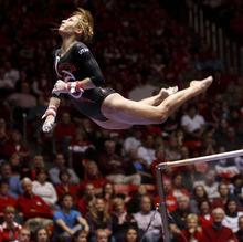 Trent Nelson  |  The Salt Lake Tribune Utah's Mary Beth Lofgren dismounts the bars. Utah vs. Stanford, college gymnastics, Friday, February 24, 2012 in Salt Lake City, Utah.