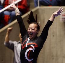 Trent Nelson  |  The Salt Lake Tribune Utah's Corrie Lothrop celebrates her performance on vault. Utah vs. Stanford, college gymnastics, Friday, February 24, 2012 in Salt Lake City, Utah.