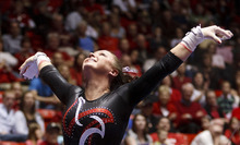 Trent Nelson  |  The Salt Lake Tribune Utah's Stephanie McAllister on bars. Utah vs. Stanford, college gymnastics, Friday, February 24, 2012 in Salt Lake City, Utah.