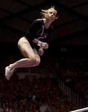 Trent Nelson  |  The Salt Lake Tribune Utah's Hailee Hansen on bars. Utah vs. Stanford, college gymnastics, Friday, February 24, 2012 in Salt Lake City, Utah.