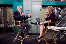 Billionaire investor Warren Buffett chairman and CEO of Berkshire Hathaway, is interviewed by Becky Quick, co-host of CNBC's