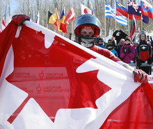 Canada's pilot Lyndon Rush reacts after his team's seventh-place finish in the men's four-man bobsled world championships in Lake Placid, N.Y., Sunday, Feb. 26, 2012. (AP Photo/Mike Groll)