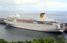 An undated picture of the Costa Allegra cruise ship in Genoa's Harbor, Italy. The Italian coast guard says a fire has broken out on an the Costa Allegra cruise ship off the Seychelles islands, Monday, Feb. 27, 2012, and the ship is adrift, but the passengers are safe. The ship owner Costa Crociere says in a statement there were no injuries or casualties among the 636 passengers and 413 crew members. (AP Photo/Tano Pecoraro)