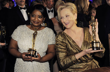 Octavia Spencer with the Oscar for best actress in a supporting role for
