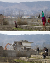 CORRECTS DATE OF BOTTOM PHOTO - In this combo of two pictures, a Pakistani woman and children stand next to the remained boundary wall of Osama bin Laden's compound, Monday, Feb 27, 2012, top, and, heavy machinery demolishes the main building of bin Laden's compound Sunday, Feb. 26, 2012, bottom, in Abbottabad, Pakistan. Pakistani authorities have reduced the house where bin Laden lived for years before he was killed by U.S. commandos to rubble, destroying a concrete symbol of the country's association with one of the world's most reviled men. (AP Photo/Anjum Naveed)