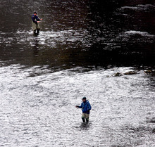 Steve Griffin  |  The Salt Lake Tribune   Anglers try their luck in the Provo River below the Deer Creek reservoir dam Monday, February 27, 2012.