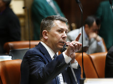 Scott Sommerdorf  |  The Salt Lake Tribune              Rep. Stephen Sandstrom, R-0rem, indicates to the House Speaker that he is ready to debate his HB395, allowing people charged -- but not convicted -- of crimes to keep their firearms. The bill passed the House and was sent to the Senate.