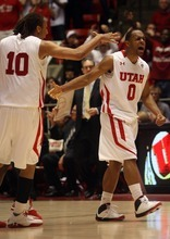 Kim Raff  |  The Salt Lake Tribune University of Utah player Chris Hines celebrates scoring three points late in the second half and taking the lead over Stanford at the Huntsman Center in Salt Lake City, Utah on February 25, 2012.  Utah went on to win the game 58-57.