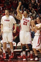 Kim Raff  |  The Salt Lake Tribune University of Utah players celebrate taking a late lead over Stanford at the Huntsman Center in Salt Lake City, Utah on February 25, 2012. Utah went on to win 58-57.