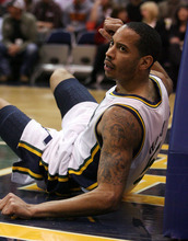 Steve Griffin  |  The Salt Lake Tribune  Utah Jazz guard Devin Harris stares at the referee after getting knocked to the ground during first half action in the Jazz Rockets game at EnergySolutions Arena in Salt Lake City, Utah  Wednesday, February 29, 2012.