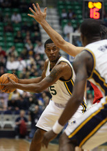 Steve Griffin  |  The Salt Lake Tribune  Utah's Derrick Favors looks for the open man during first half action in the Jazz Rockets game at EnergySolutions Arena in Salt Lake City, Utah  Wednesday, February 29, 2012.