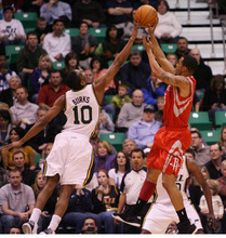 Steve Griffin  |  The Salt Lake Tribune  Utah's Alec Burks blocks the shot of Houston's Kevin Martin during first half action in the Jazz Rockets game at EnergySolutions Arena in Salt Lake City, Utah  Wednesday, February 29, 2012.