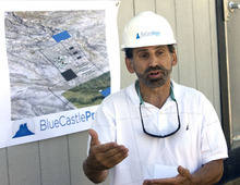 Al Hartmann  |  The Salt Lake Tribune Tom Retson, chief operating officer for the Blue Castle Nuclear Project, discusses the proposed plant. Blue Castle is conducting characterization studies needed for a licensing application with the U.S. Nuclear Regulatory Commission.