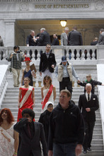 Francisco Kjolseth  |  The Salt Lake Tribune Occupy activists, some dressed in drag mock specific legislators who have alliances with ALEC through political theatre on Wednesday, February 29, 2012 at the Utah State Capitol. For many years, the American Legislative Exchange Council has drafted corporate-friendly bills and found conservative state lawmakers across the country to sponsor them. ALEC has gained significant ground and is holding its national convention here in Salt Lake City this summer. Sen. Howard Stephenson, Rep. Stephen Sandstrom and Rep. Keith Grover are the targets of the theatrical protest.