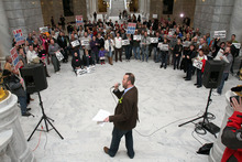 Francisco Kjolseth  |  The Salt Lake Tribune Weston Clark leads a rally of supporters of Utah's lesbian, gay, bisexual and transgender community as they attended a Human Dignity Rally on Wednesday, February 29, 2012, at the Utah State Capitol to call for a statewide anti-discrimination law. A Senate committee tabled such a proposal earlier this month.