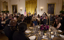 President Barack Obama speaks as he hosts a dinner for members of the U.S. military who served in Iraq in the East Room of the White House in Washington, Wednesday, Feb., 29, 2012.(AP Photo/Pablo Martinez Monsivais)