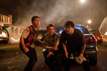 From left, Oliver Cooper, Thomas Mann, and Jonathan Daniel Brown are shown in a scene from
