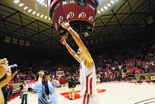 Kim Raff     The Salt Lake Tribune University of Utah player Jason Washburn celebrates defeating  Stanford 58-57 at the Huntsman Center in Salt Lake City, Utah on February 25, 2012.