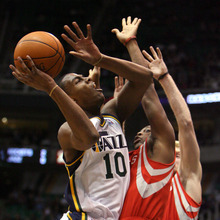 Steve Griffin  |  The Salt Lake Tribune  Utah's Alec Burks tries to get a shot off against the Houston defense during first half action in the Jazz Rockets game at EnergySolutions Arena in Salt Lake City, Utah  Wednesday, February 29, 2012.