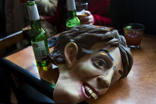 Chris Detrick  |  The Salt Lake Tribune A Sarah Palin mask from team Tea Party at the Beerhive Pub during the 5th Annual Salt Lake City Urban Iditarod Saturday March 3, 2012. Teams of