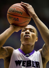 Weber State Wildcats guard Damian Lillard (1) shoots against the Montana Grizzlies during the first half in the Dee Events Center. (© 2012 Douglas C. Pizac/Special to The Tribune)