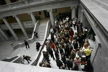Scott Sommerdorf  |  The Salt Lake Tribune              The packed lobbyists area just outside the Utah House of Representatives, Thursday February 23, 2012.