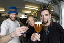 Paul Fraughton | The Salt Lake Tribune Matthew Davis, Stan Hooley and Trent Fargher of Shades of Pale Brewery in Park City raise  glasses of their 4-Play Porter and Publican Pale Ale.