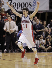 St. Mary's Clint Steindl reacts as time runs off the clock to win 78-74 over Gonzaga in overtime during the NCAA West Coast Conference tournament championship basketball  NCAA college basketball game, Monday, March 5, 2012, in Las Vegas.  (AP Photo/Julie Jacobson)