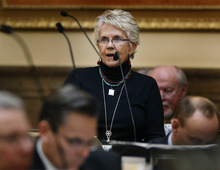 Scott Sommerdorf  |  The Salt Lake Tribune              Rep. Carol Spackman Moss, D-Holladay, speaks against HB461. She was the only representative to speak against the bill imposing a 72-hour waiting period for abortions.