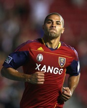 Steve Griffin  |  The Salt Lake Tribune   Real Salt Lake's Alvaro Saborio pumps himself up as he runs off the field after scoring a goal during the Real Salt Lake versus Arabe Unido at Rio Tinto Stadium in Sandy on Wednesday, August 18, 2010.