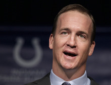 Quarterback Peyton Manning, who will be released by the Indianapolis Colts, speaks during a news conference in Indianapolis, Wednesday, March 7, 2012. (AP Photo/Michael Conroy)