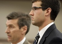 MATTHEW ARDEN HATFIELD  |  Standard-Examiner pool photo  Colton Raines, right, and his attorney Greg Skordas appear before the 2nd District Court in Ogden Wednesday. Raines and two others are charged in connection to the death of Ester Fujimoto after Fujimoto was struck by a boat while swimming in Pineview Reservior.