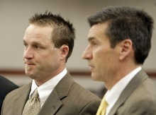 MATTHEW ARDEN HATFIELD  |  Standard-Examiner pool photo  Robert Cole Boyer, left, and his attorney Greg Skordas appear before the 2nd District Court in Ogden Wednesday. Boyer and two others are charged in connection to the death of Ester Fujimoto after Fujimoto was struck by a boat while swimming in Pineview Reservior.